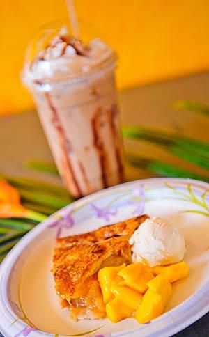 Homemade apple-mango pie on Maui served ala mode style with a chocolate milkshake.