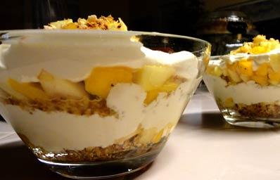 Maui Chef CJ created a fresh mango apple trifle recipe image.