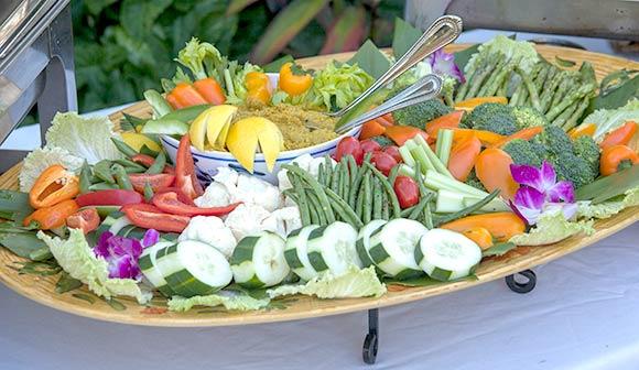 Maui wedding hors doeuvre with fresh vegetable crudite and housemade hummus
