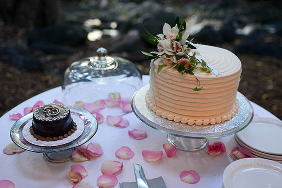 A Maui wedding cake with floral arrangements and a chocolate groomsman cake.