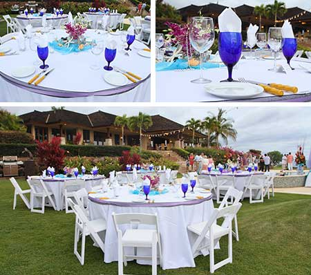 Catering image displaying popular table setups at a catered Maui wedding reception.