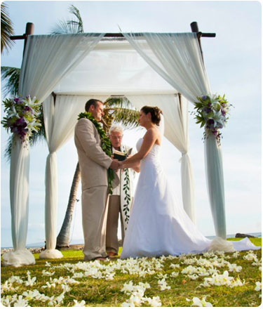 Bamboo wedding chuppah at the Olowalu Plantion House in West Maui.