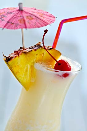 Pina Coloda cocketail with fresh tropical fruit for Maui wedding cocktails image.
