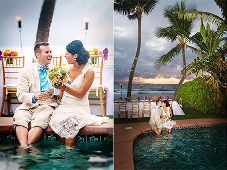 A wedding couple enjoy a quiet moment in the pool at the Oceanfront wedding venue in Lahaina.