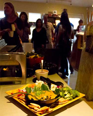Homemade hummus and pita chips at catered event for bridal parties at Soleil Luna Salon in Lahaina.