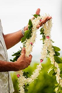 Fresh flower lei for a Maui weddings lei exchange.