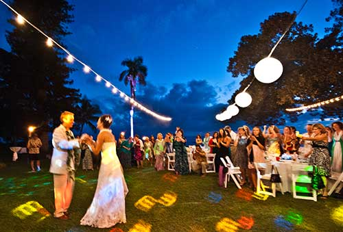 Wedding photography at a West Maui wedding catered wedding reception.