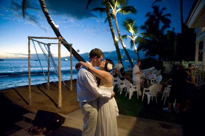 Maui beach wedding location at private estate in Lahaina on West Maui.