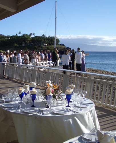On the beach Maui wedding location at the El Dorado Cabana in Kaanapali for catered Maui weddings.