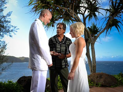 Getting married on Maui at an oceanfront venue.