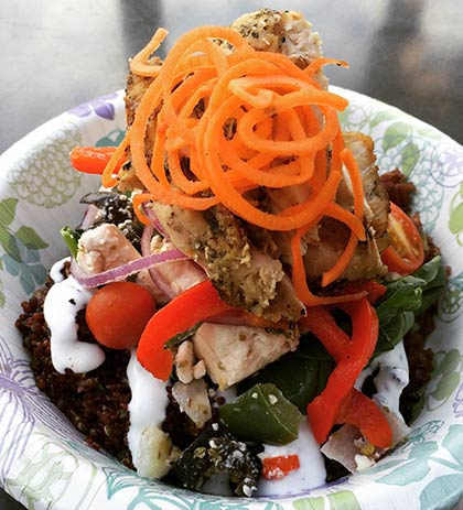 Mediterranean grain bowl with ancient rice at CJs Maui restaurant in Kaanapali.