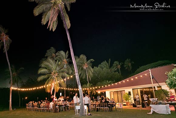 A reception under the stars at an oceanfront wedding venue on Maui.