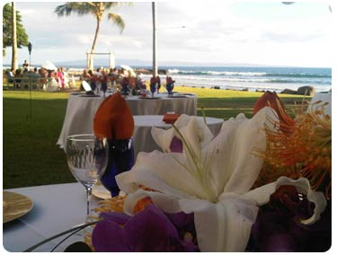 A catered Maui wedding at the Olowalu plantation private estate wedding location in West Maui.