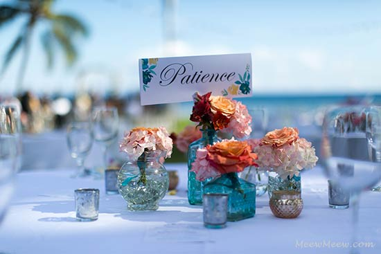 A wedding table setting for the reception at the Olowalu Plantation House in West Maui.
