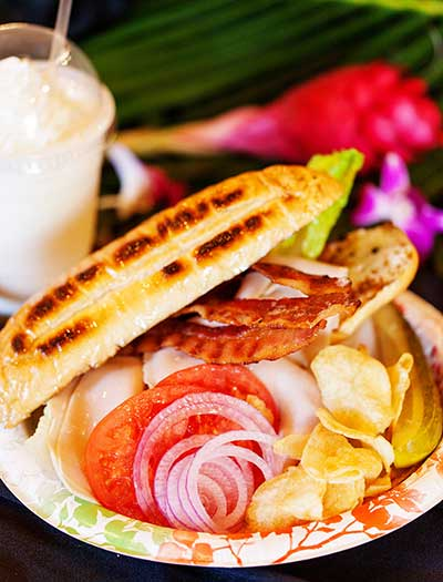 A BLT variation includes Panini at CJs Deli in Kaanapali.