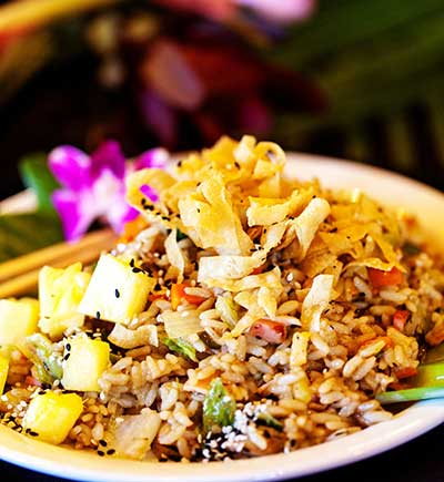 Hawaiian Pineapple Fried Rice at CJs Maui Restaurant in Kaanapali.