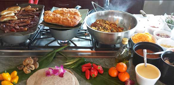 A catered dinner service with a Maui private chef cooking.