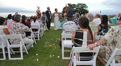 A sunset wedding on Maui at the Puunoa private estate wedding venue.