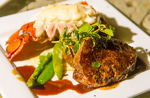 Steak and Lobster for a catered Maui wedding reception.