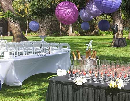 Champagne and Strawberries at a catered wedding at the Olowalu Plantation House in West Maui.