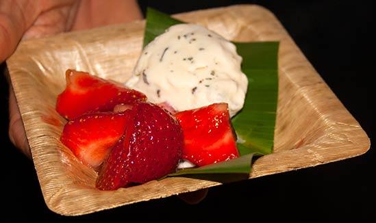 Maui chef prepared strawberries with basil coffee vanilla ice cream.
