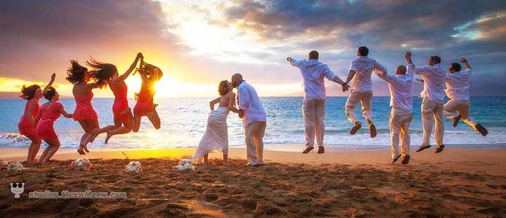 A sunset wedding on Kaanapali beach at the Outrigger Eldorado Cabana in West Maui.