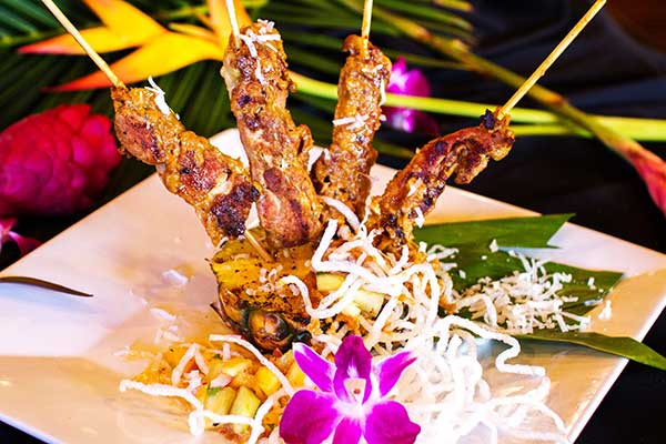 Thai chicken skewers appetizer prepared for a Maui private chef dinner.