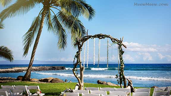 A wedding chuppah at the Olowalu private estate in West Maui.