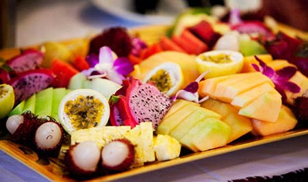 A tropical fresh fruit platter for dessert at catered wedding in Kaanapali.