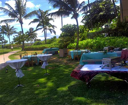 Honoapiilani Beach Park in West Maui setup for a wedding welcome barbecue catered by CJs Deli Diner in Kaanapali.