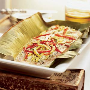 Maui Chefs Recipe, Salmon with Crab and Vegetables in a foil packet (image by James Carrier).